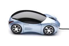 Computer mouse car on white Royalty Free Stock Photo