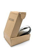 Computer mouse in cardboard box Royalty Free Stock Photos