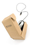 Computer mouse in cardboard box Stock Photography