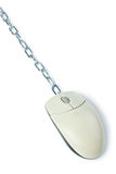 Computer mouse with chain Royalty Free Stock Image