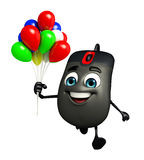 Computer Mouse Character with Balloons Royalty Free Stock Images