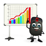Computer Mouse Character with business graph Stock Image