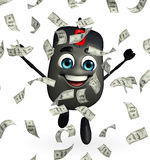 Computer Mouse Character with dollars Royalty Free Stock Photo