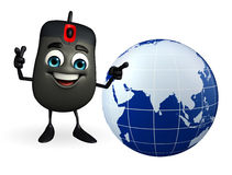 Computer Mouse Character with globe Royalty Free Stock Image