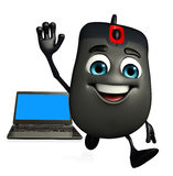 Computer Mouse Character with Laptop Stock Images
