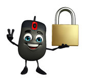 Computer Mouse Character with lock Royalty Free Stock Photos