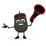 Computer Mouse Character with Loudspeaker Royalty Free Stock Photo