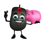 Computer Mouse Character with piggy bank Royalty Free Stock Photo