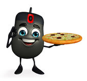 Computer Mouse Character with pizza Royalty Free Stock Photos