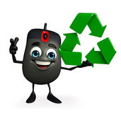 Computer Mouse Character with recycle icon Royalty Free Stock Photos