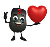 Computer Mouse Character with red heart Stock Photo