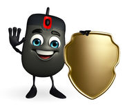 Computer Mouse Character with shield Stock Photography