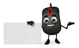 Computer Mouse Character with sign Stock Photography