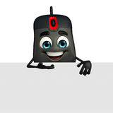 Computer Mouse Character with sign Stock Images