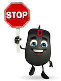 Computer Mouse Character with stop sign Stock Image