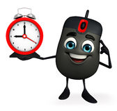 Computer Mouse Character with table clock Royalty Free Stock Photography