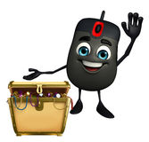 Computer Mouse Character with treasure box Royalty Free Stock Photos
