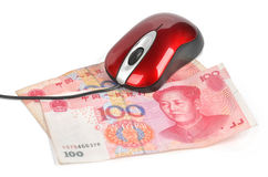 Computer mouse and chinese currency Stock Images