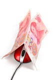 Computer mouse and chinese currency Stock Photography