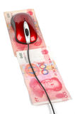 Computer mouse and chinese currency Royalty Free Stock Photo
