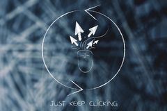 Computer mouse with click cursor surrounded by repeat sign. Just keep clicking conceptual illustration: computer mouse with click cursor surrounded by repeat Royalty Free Stock Photos