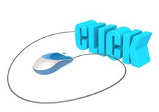 Computer mouse and click. Hi-res original 3d-rendered computer generated artwork Royalty Free Stock Images