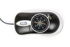 Computer Mouse and Compass Royalty Free Stock Photography
