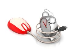 Computer mouse connected with clock Royalty Free Stock Image