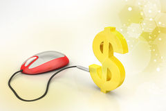 Computer mouse connected with dollar sign Royalty Free Stock Photo