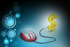 Computer mouse connected with dollar sign Stock Images