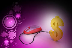 Computer mouse connected with dollar sign Stock Photography