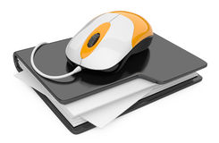 Computer mouse connected to black folder Royalty Free Stock Image