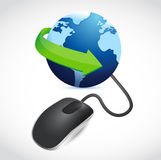 Computer mouse connected to a blue globe Stock Images