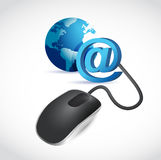 Computer mouse connected to a blue globe Stock Photography