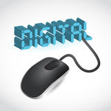 Computer mouse connected to the blue word Digital Stock Images
