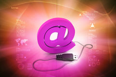 Computer mouse connected to an e-mail symbol Royalty Free Stock Image