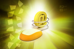 Computer mouse connected to an e-mail symbol Royalty Free Stock Images