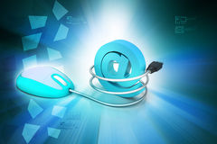 Computer mouse connected to an e-mail symbol Stock Photography