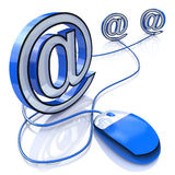Computer mouse connected to email sign Royalty Free Stock Photography