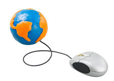Computer mouse connected to the globe Royalty Free Stock Image