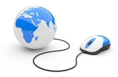 Computer mouse connected to a globe. 3d illustration  on a white background Stock Photos