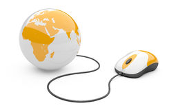 Computer mouse connected to a globe. 3d illustration  on a white background Stock Images