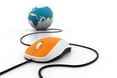 Computer mouse connected to a globe Stock Images