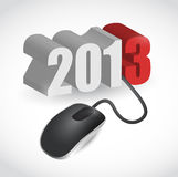 Computer mouse connected to 2013 illustration. Design over white Royalty Free Stock Images