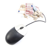 Computer mouse connected to money Royalty Free Stock Photography