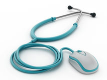 Computer mouse connected to Stethoscope Royalty Free Stock Image
