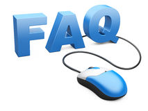 Computer mouse connected to the word FAQ - internet concept Royalty Free Stock Photography