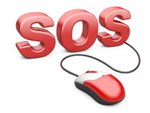 Computer mouse connected to the word sos Stock Photo