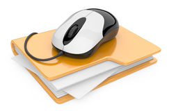 Computer mouse connected to yellow folder Royalty Free Stock Images