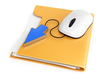 Computer mouse and cursor on folder Stock Images
